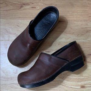 Dansko Brown Leather Clogs Size 10